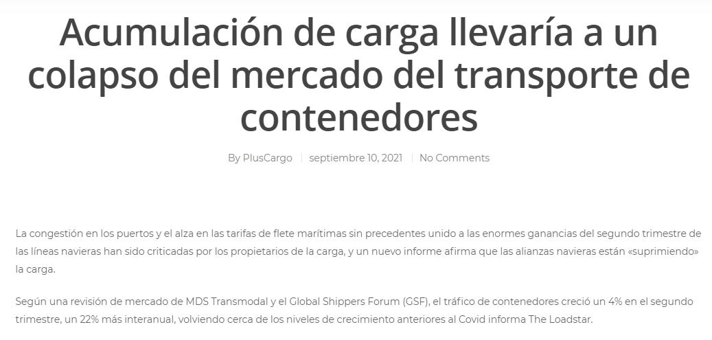 Acumulación de carga llevaría a un colapso del mercado del transporte de contenedores